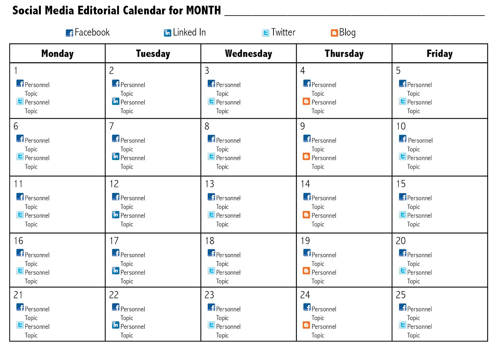 Social Media Calendar Excel | calendar template excel