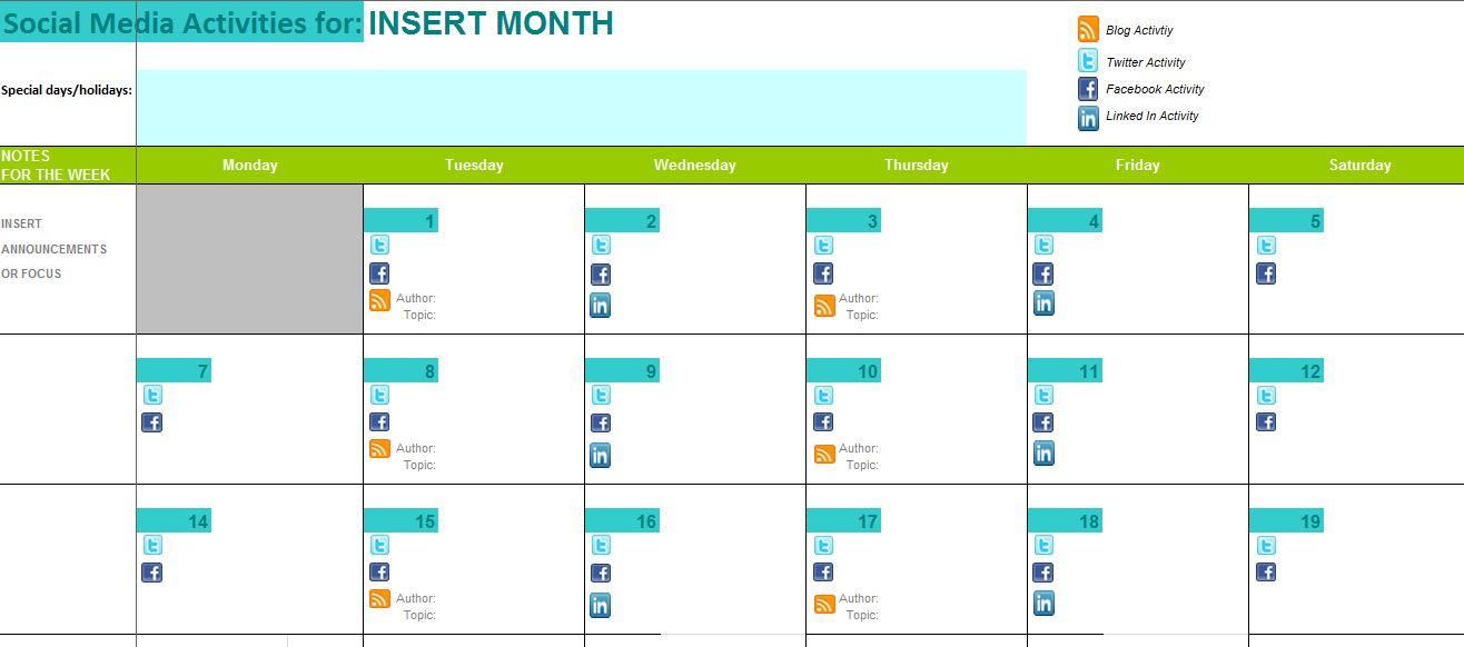 Social Media Content Calendar Template | rapidimg.org