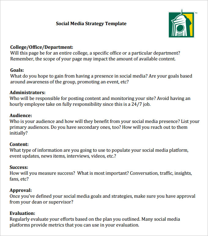 Social Media Strategy Template 8 Free PDF Documents Download