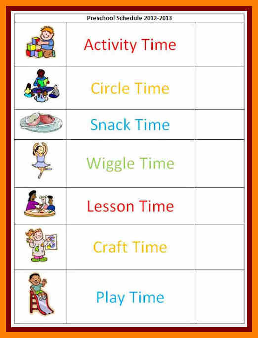 visual schedule for autistic children | Example Daily School