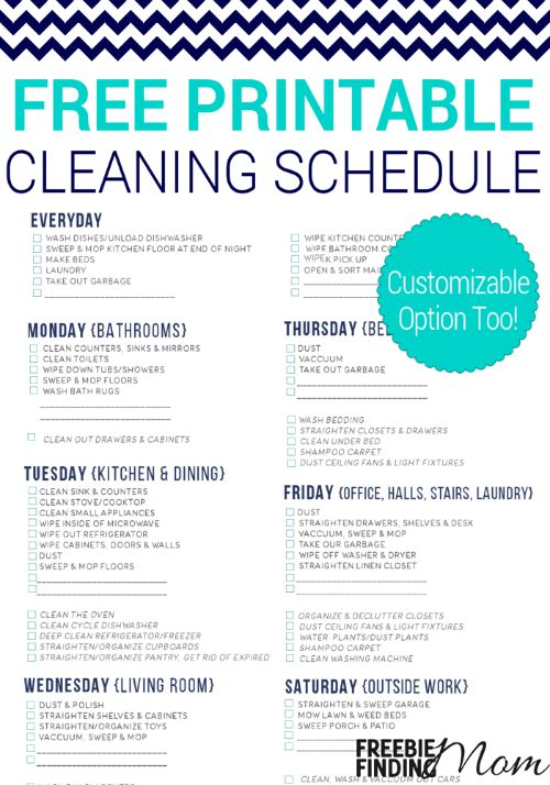 My Quirky Weekly Cleaning Chart: Free Printable First Home Love Life