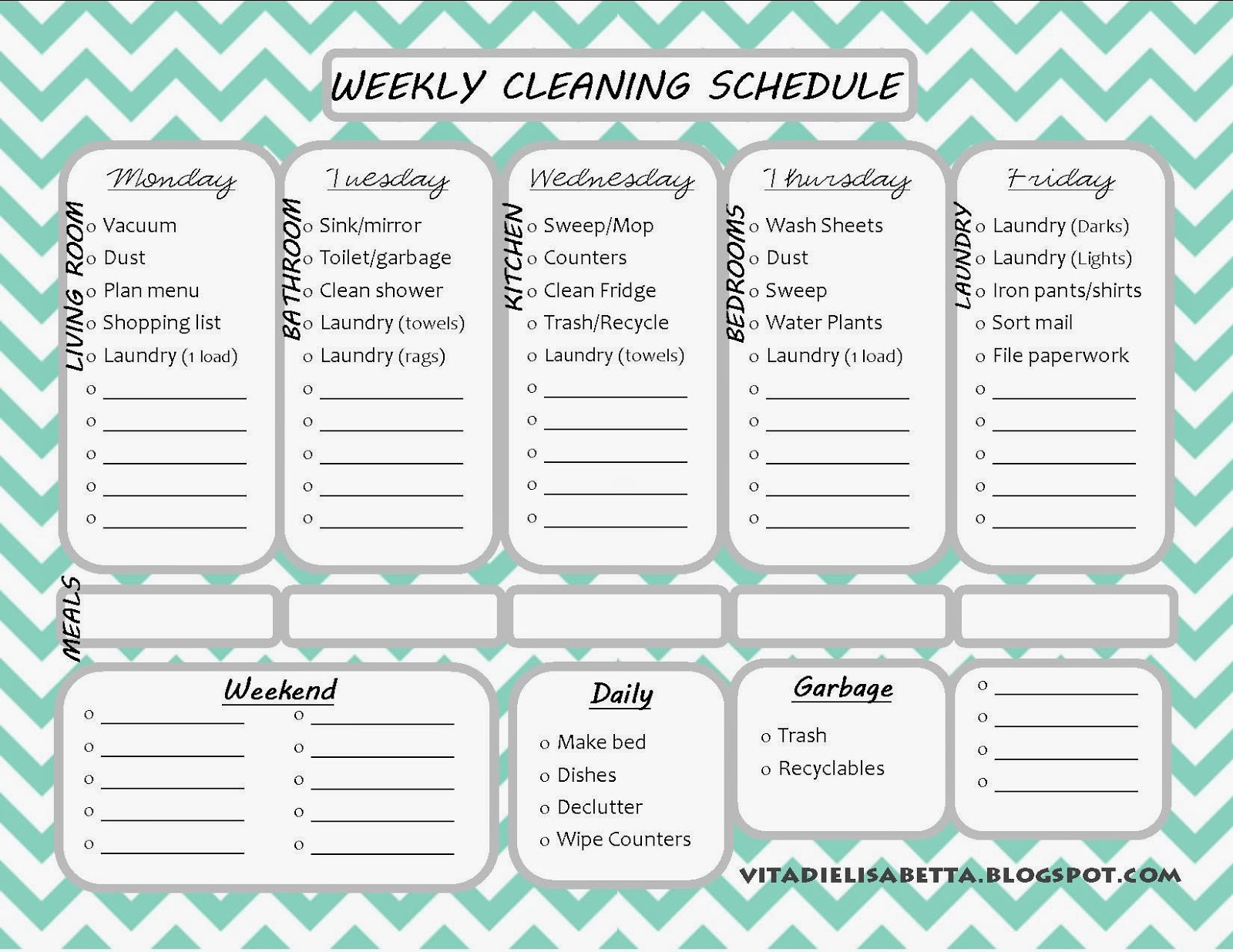 picture relating to Free Printable Cleaning Schedule Template titled Weekly Cleansing Plan Printable undertaking listing templates