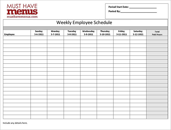28+ Employee Schedule Templates | 4 Employee Work Schedule