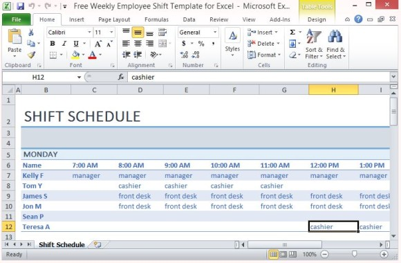 weekly employee shift schedule template excel task list templates. Black Bedroom Furniture Sets. Home Design Ideas