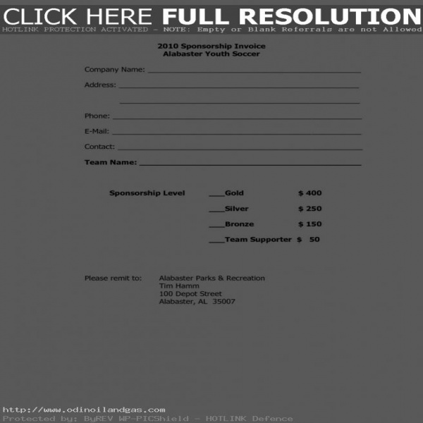 Sponsorship Invoice Template Word