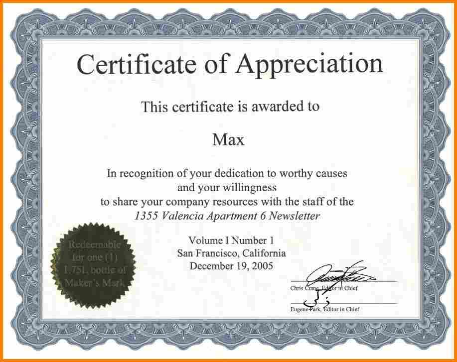 Certificate Of Appreciation Wording Task List Templates