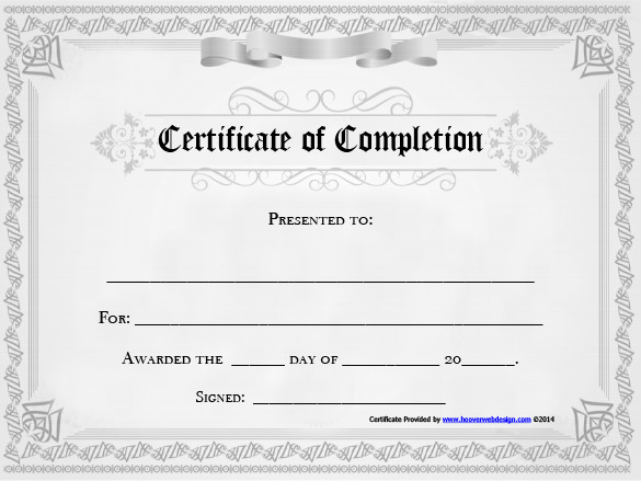 Certificate Of Completion Template Word