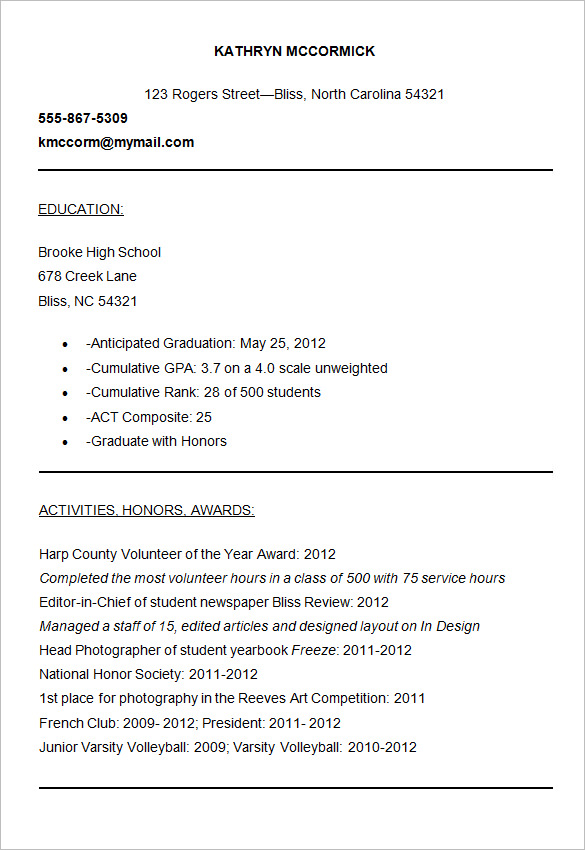 Resume form for college admission