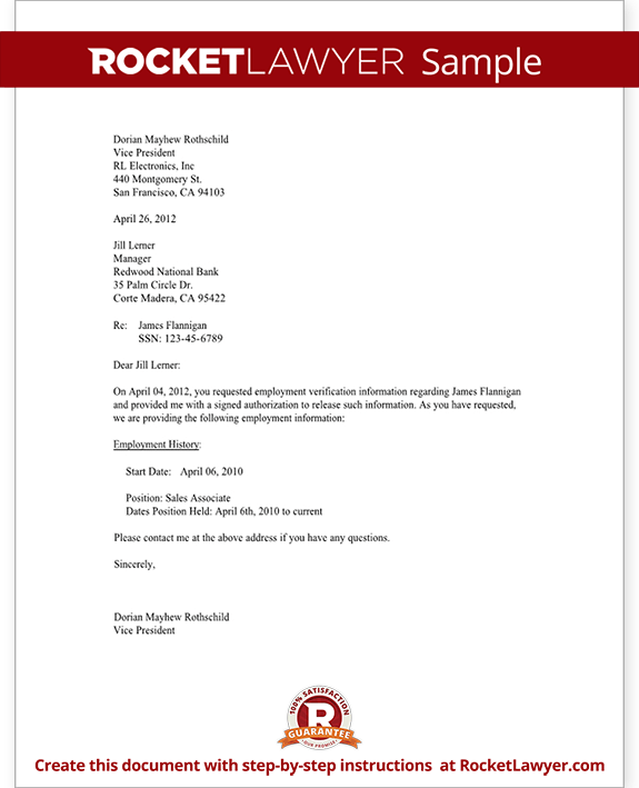 Confirmation Of Employment Letter For Bank