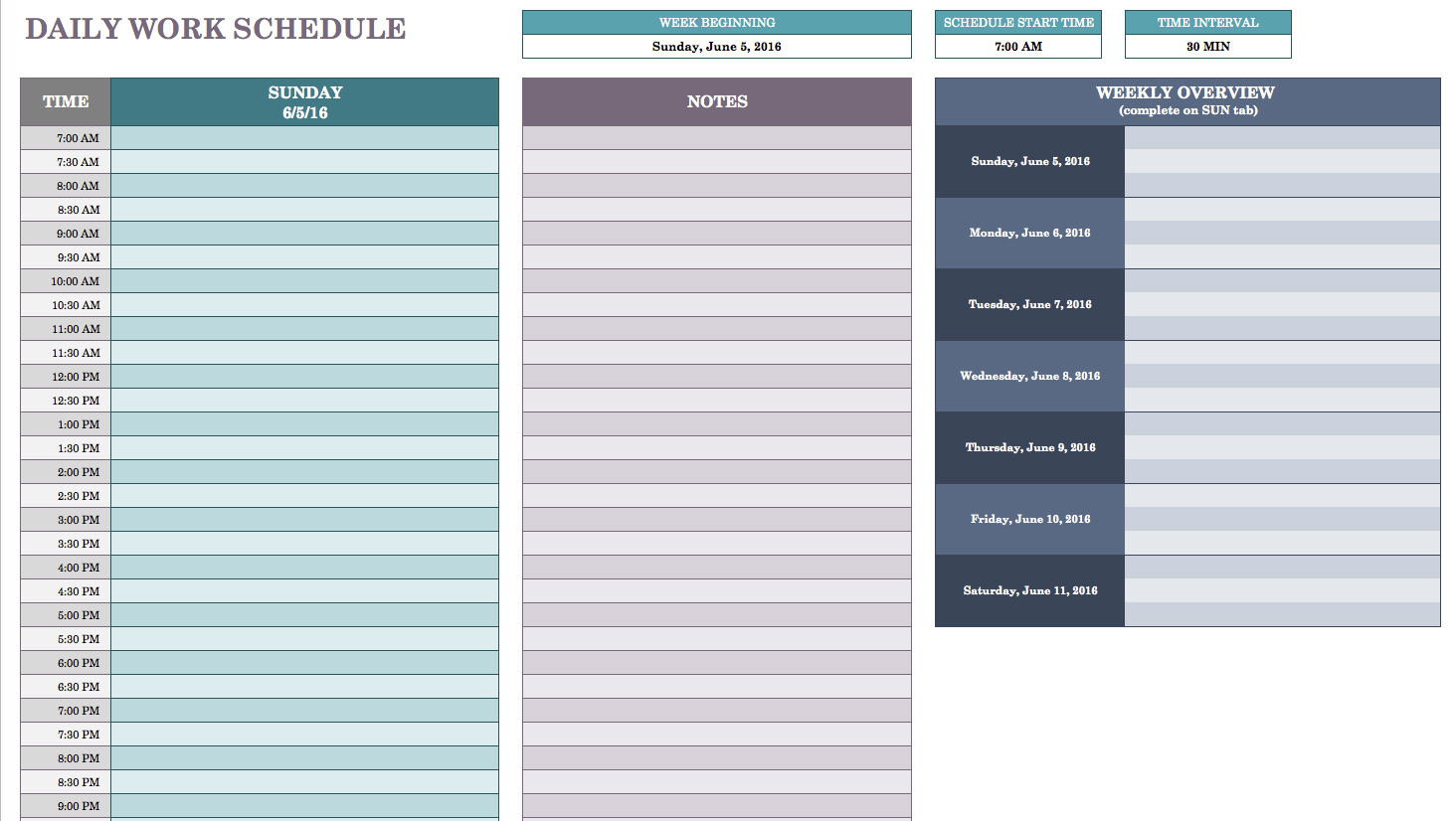 Daily Work Schedule Template | task list templates