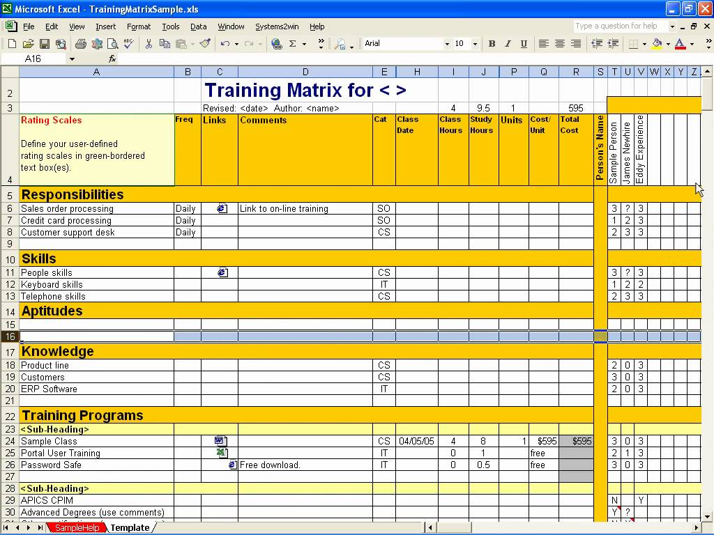 Employee Training Matrix Template Excel - task list templates