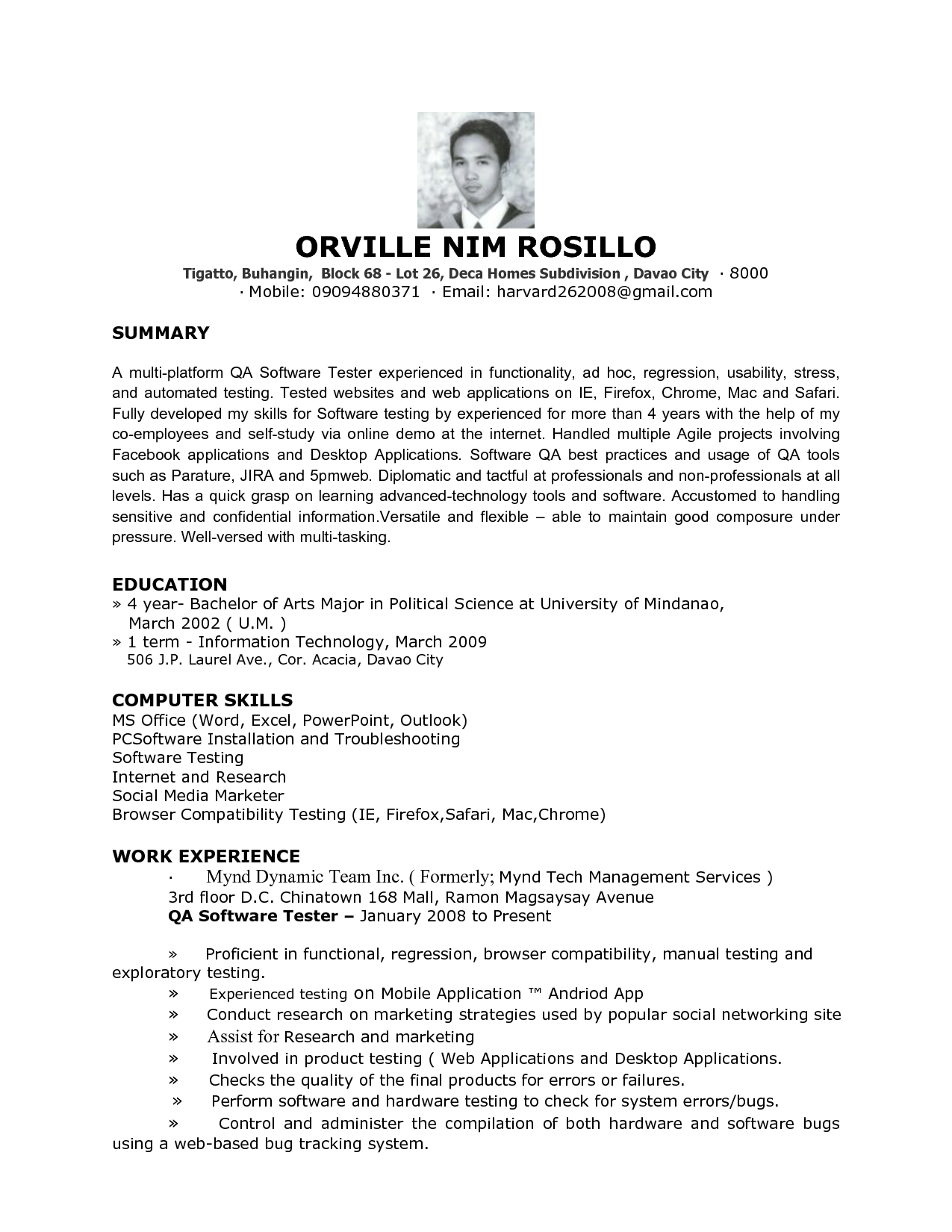 Resume Template Qtp Sample For Software Testers Free