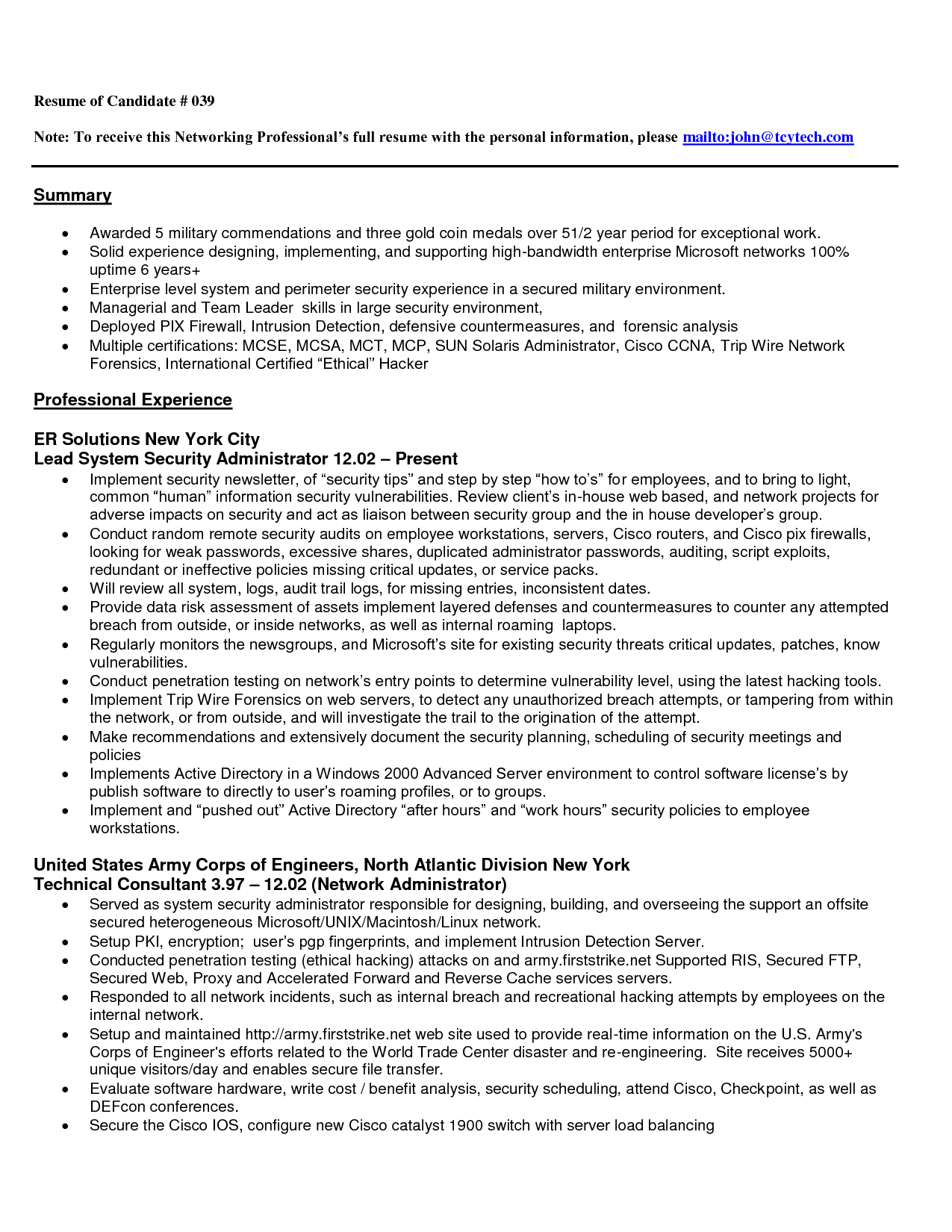 Network Administrator Resume Entry Level