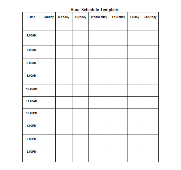 Hourly Schedule Template | task list templates