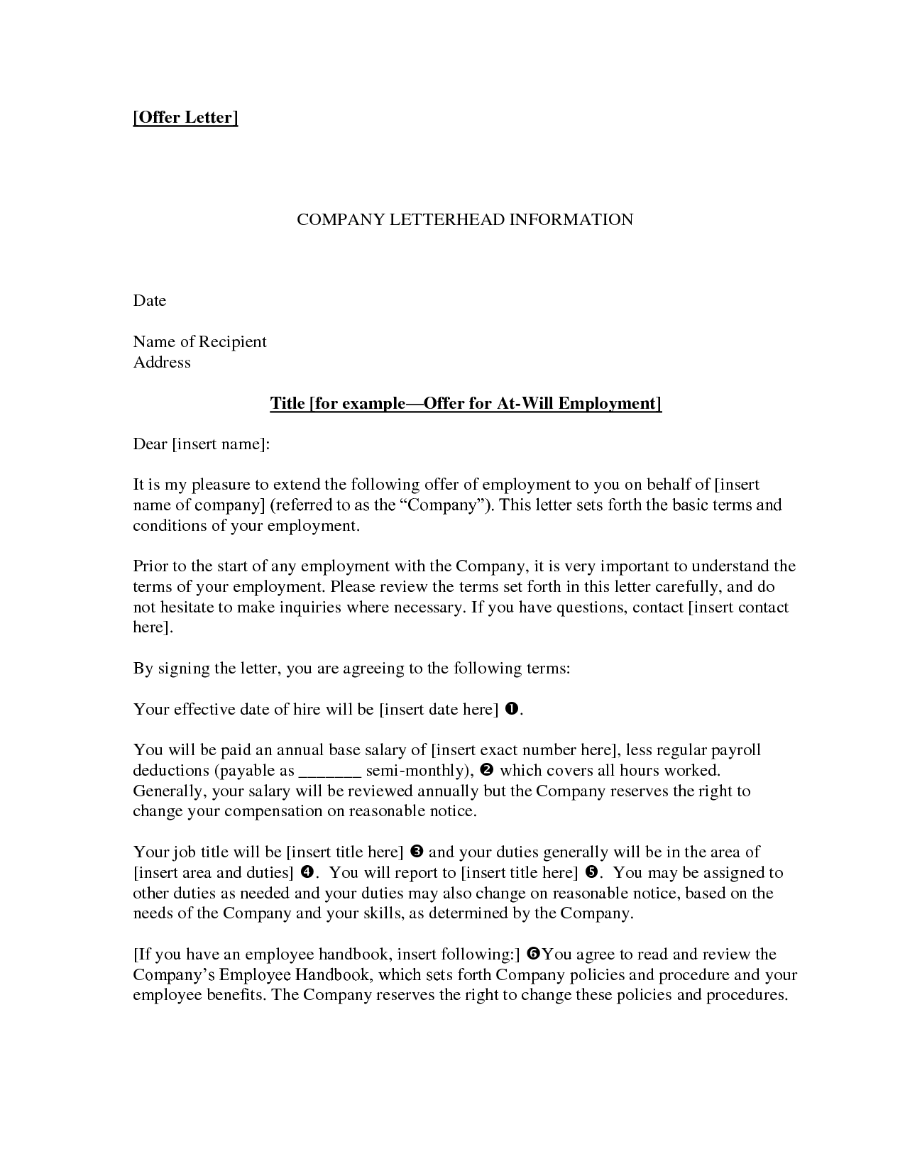 employment offer letter template letter of employment offer task list templates 21501