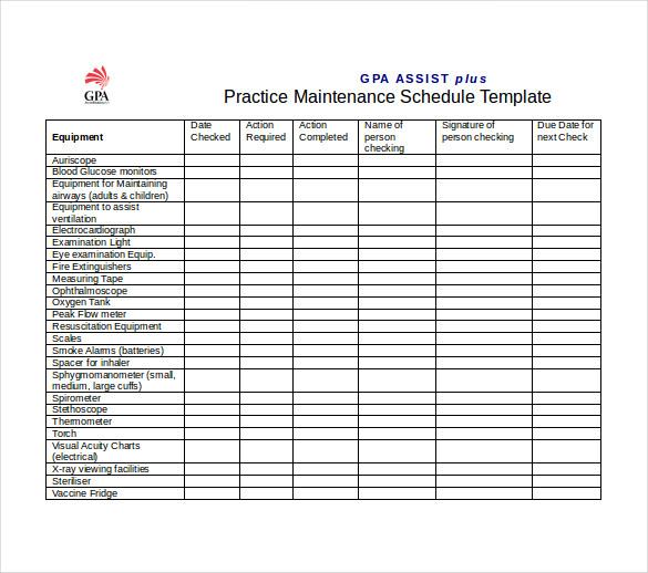 Preventive Maintenance Schedule Template Excel - task list ...