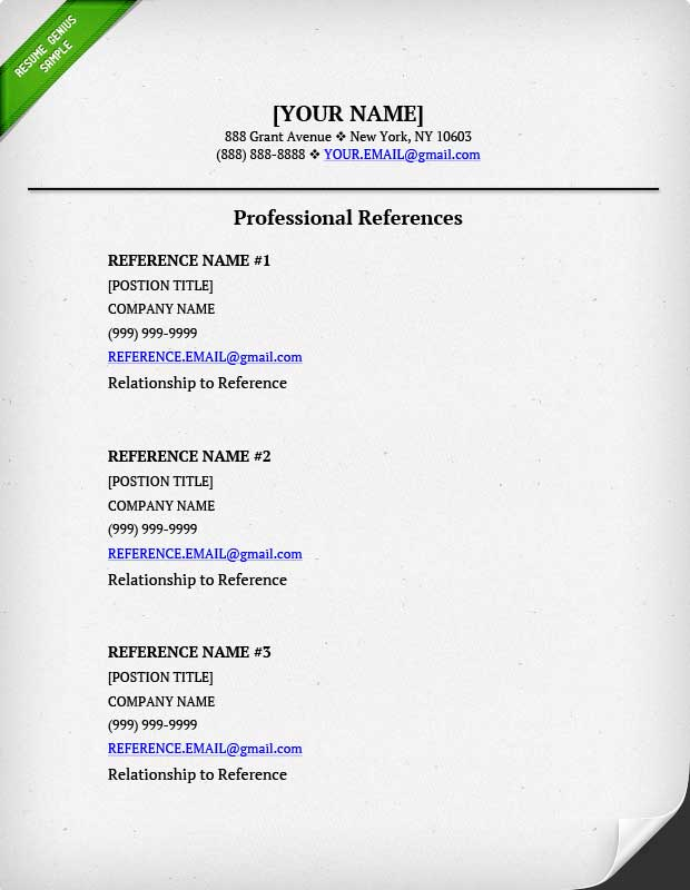 resume reference page  u2013 task list templates