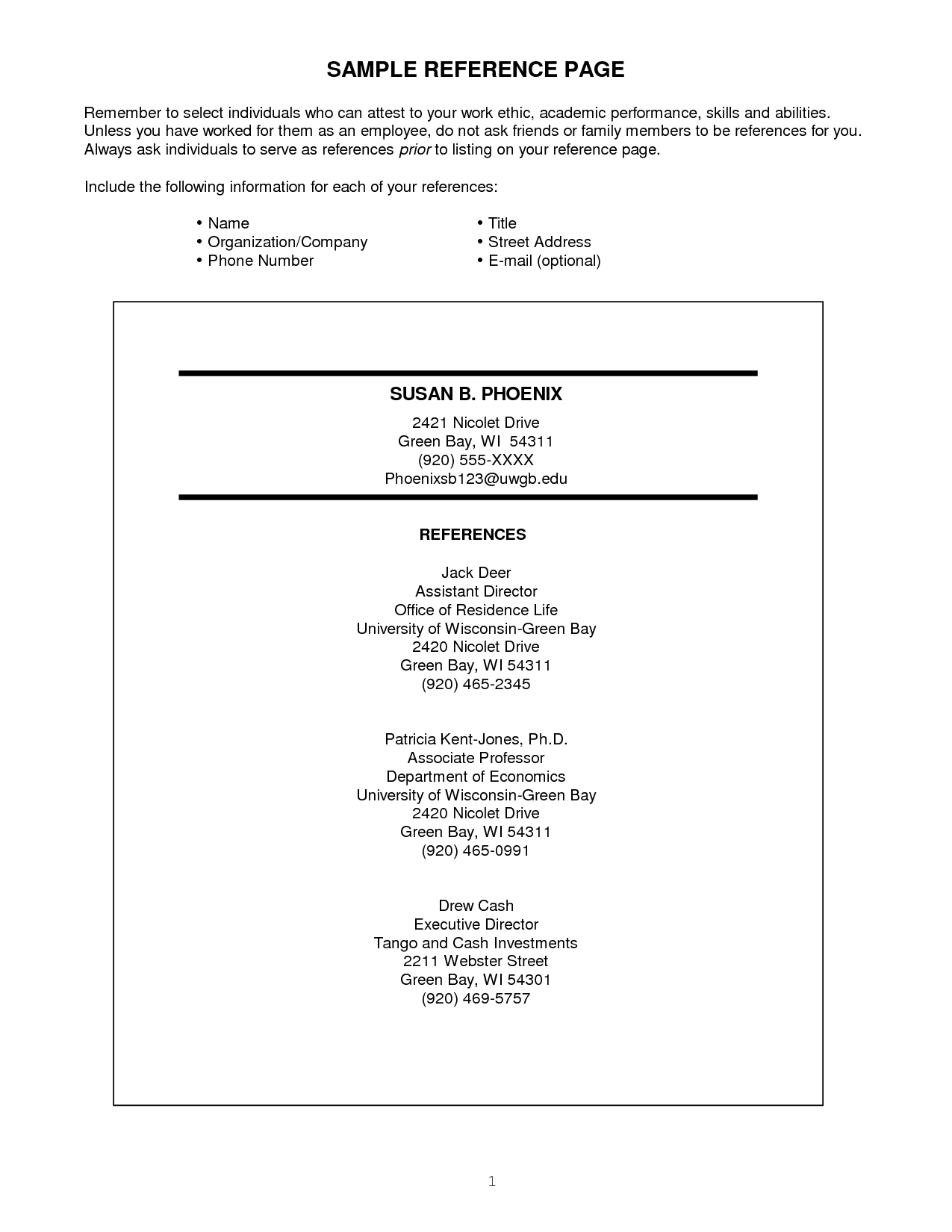 resume references format