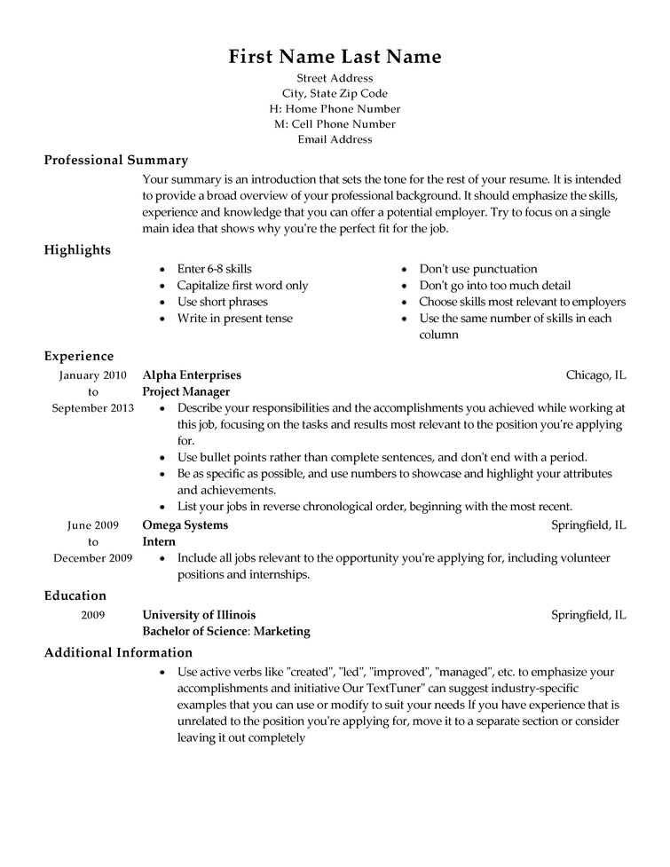 resume template  u2013 task list templates