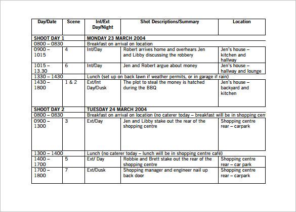 shooting schedule template task list templates. Black Bedroom Furniture Sets. Home Design Ideas
