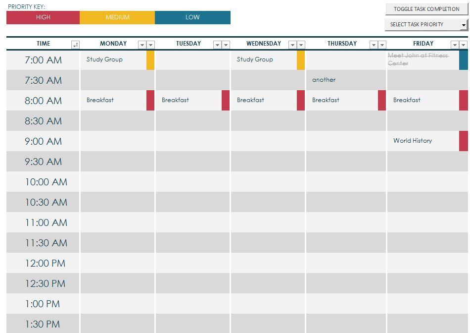Weekly Schedule Maker Task List Templates