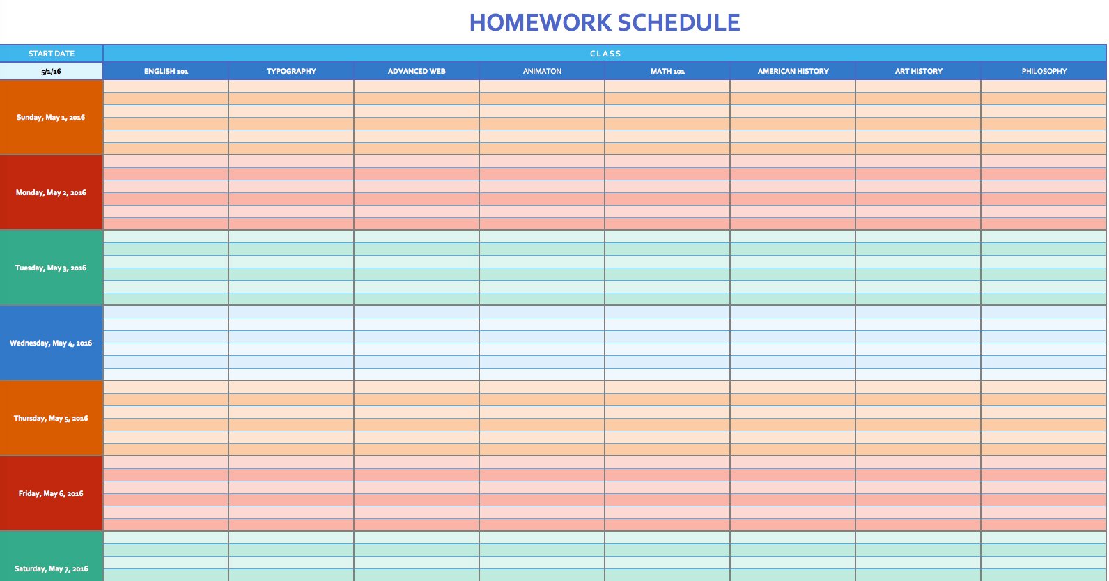 Weekly Schedule Template Excel - task list templates