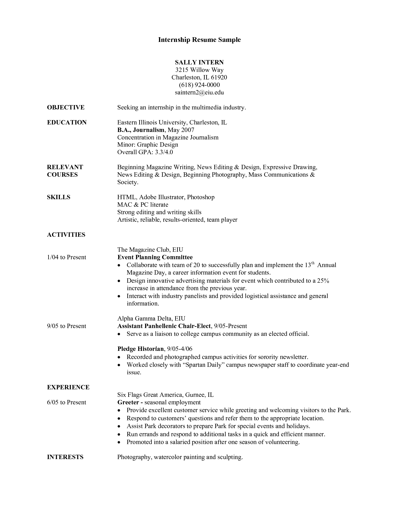 College Internship Resume Samples