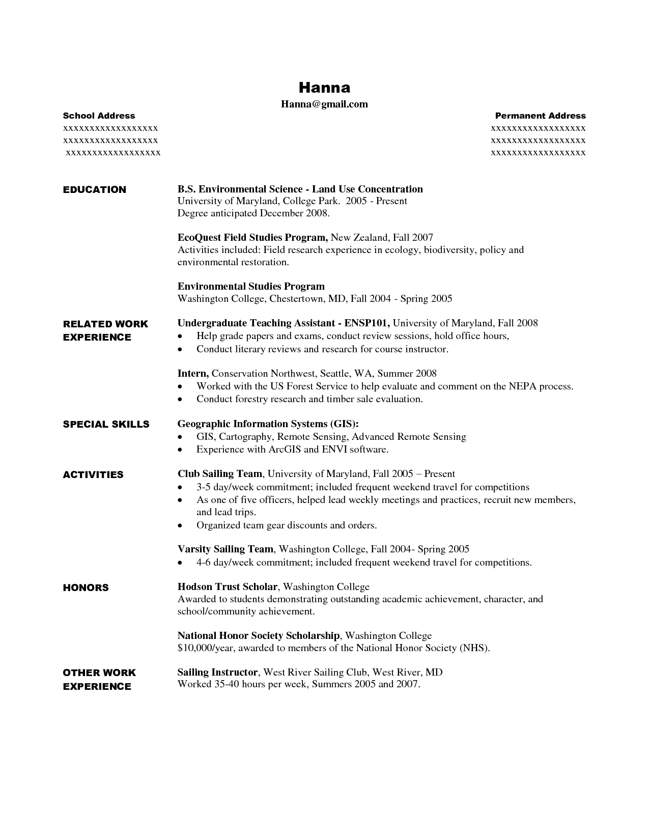 college student resume for internship  task list templates