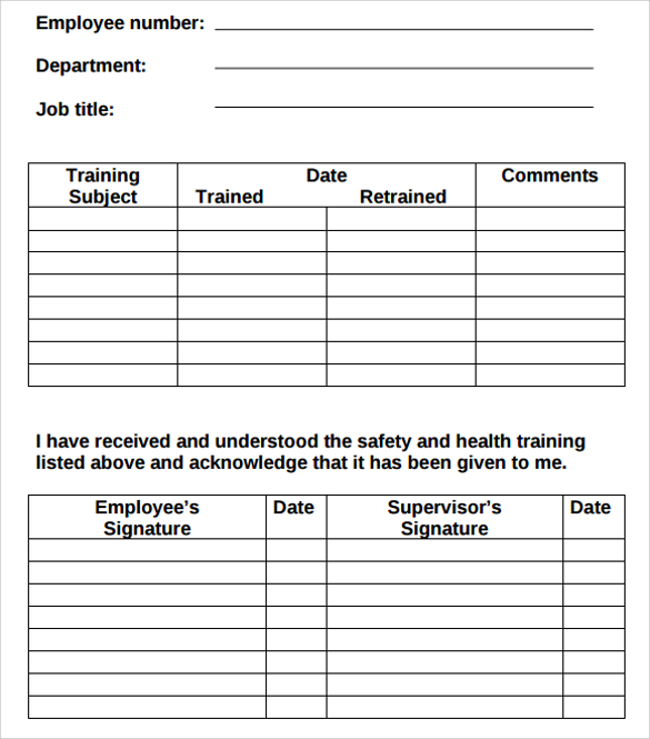 Employee Training Record Template Excel