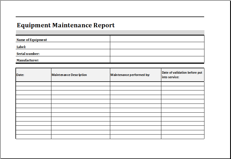 Equipment Maintenance Schedule Template Excel | task list ...