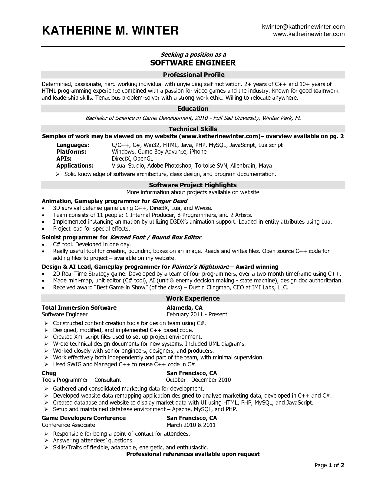 experienced software engineer resume task list templates