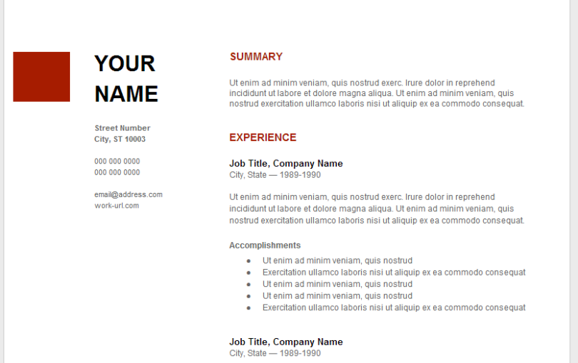google resume examples  u2013 task list templates