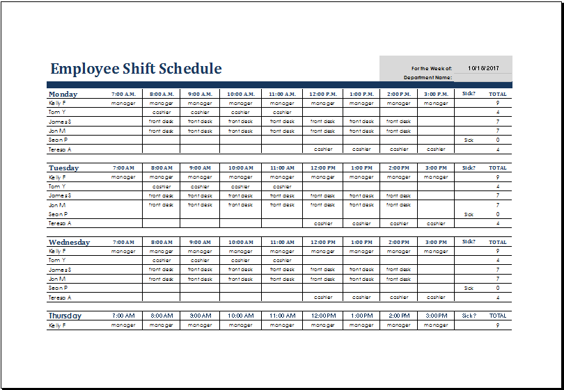 monthly employee shift schedule template