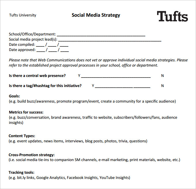 social media strategy template social media strategy template pdf task list templates 24906