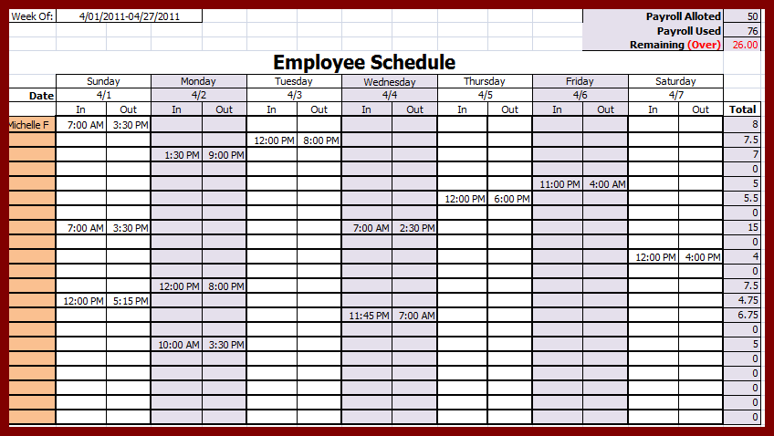 weekly employee schedule template task list templates. Black Bedroom Furniture Sets. Home Design Ideas
